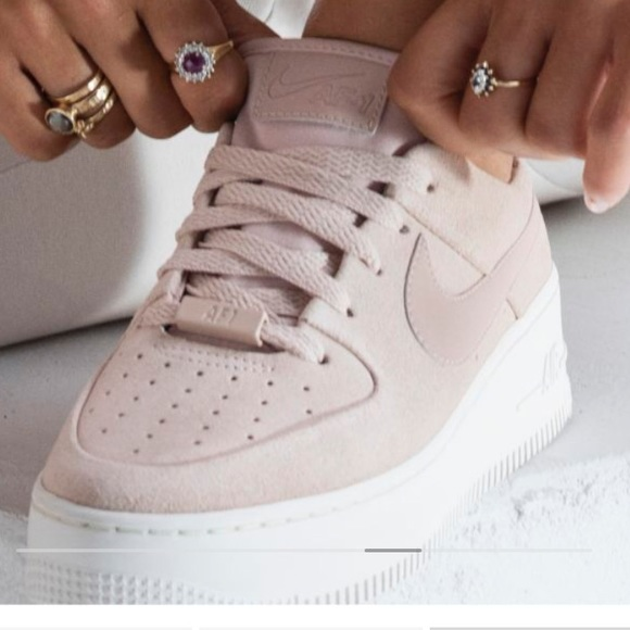 New Nike Air Force 1 Sage Low Suede Platform Pink NWT